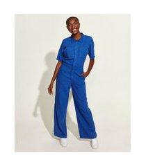 macacão de sarja feminino mindset obvious com bolsos manga curta azul royal