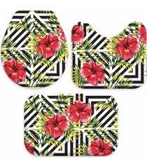 kit 3 tapetes decorativos para banheiro wevans abstrato flor preto