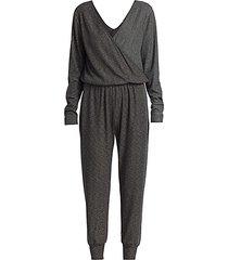 metallic-knit wrap jumpsuit