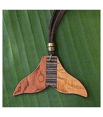 wood pendant necklace, 'mermaid tail' (brazil)