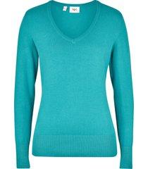maglione in filato fine con scollo a v (verde) - bpc bonprix collection