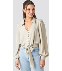 trendyol button detailed binding blouse - beige