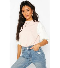 lace contrast sleeve t-shirt, light pink