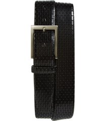men's big & tall torino geometric leather belt, size 46 - black