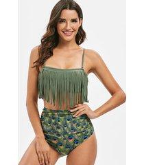 peacock print ruched fringed bikini swimsuit
