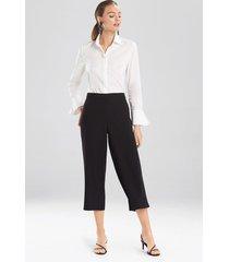 natori solid crepe wide leg crop pants, women's, size l