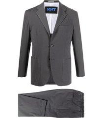 kiton slim-fit cropped leg suit - grey