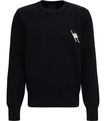 givenchy black sweater in viscose blend with 4g lock detail