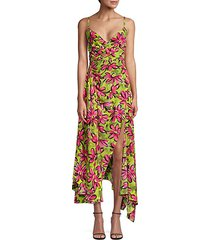 daisy floral crepe de chine asymmetric dress