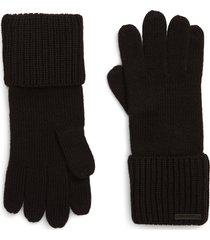 women's allsaints cuffed knit gloves, size one size - black