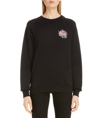 women's givenchy beaded floral logo sweatshirt, size x-small - black