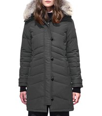 women's canada goose lorette fusion fit hooded down parka with genuine coyote fur trim, size x-smallp - grey