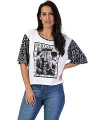 camiseta feminina manga onã§a branco - branco - feminino - dafiti