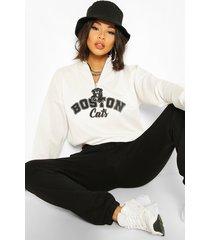 graphic zip high neck crop sweatshirt, white