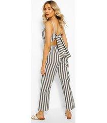 linen stripe tie back jumpsuit, black