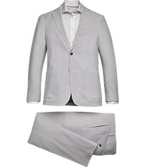 tommy hilfiger slim fit suit gray & white seersucker