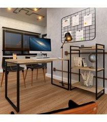 escritório completo appear mesa e estante marrom/preto - pnr móveis