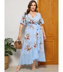 yoins plus talla sky estampado floral azul escote en v medias mangas vestido