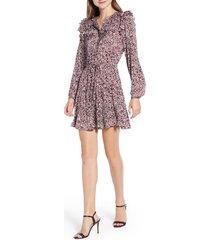 women's rebecca minkoff selandra disty floral ruffle detail dress, size xx-large - purple