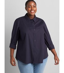 lane bryant women's button-down boyfriend shirt 10/12 night sky