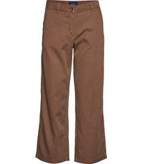 d1. cropped slim slouch wijde broek bruin gant