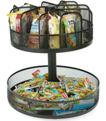 mind reader 2 tier lazy susan granola bar and snack organizer, home, office, breakroom metal mesh
