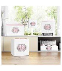 kit higiene mdf coroa arabesco rosa grão de gente rosa