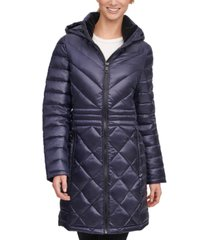 calvin klein hooded packable shine puffer coat, created for macy's