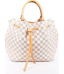 louis vuitton girolata damier azur coated canvas shoulder bag blue/white sz: m