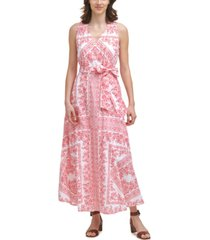 calvin klein cotton paisley-print maxi dress