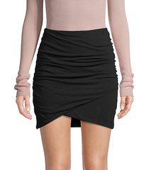 asymmetrical cotton-blend mini skirt