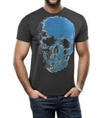 heads or tails men's faded skull graphic printed rhinestone studded t-shirt