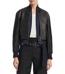 2-in-1 leather zip-front jacket