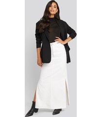 na-kd trend side split maxi denim skirt - white