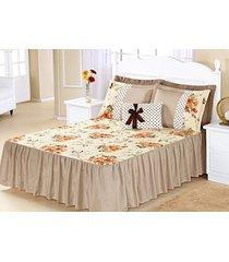 kit colcha (colcha + porta travesseiro) queen geovanna caqui estampa flores com 7 peças - aquarela - tricae