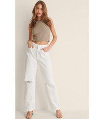 na-kd trend ekologiska mjuka rigid jeans med vida ben och slitningar - white