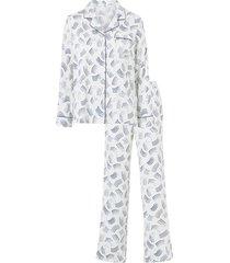 mönstrad pyjamas i stretchsatin