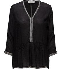 blouse 3/4 s blus långärmad svart rosemunde