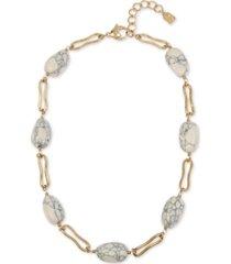 "robert lee morris soho gold-tone link & stone beaded collar necklace, 16-1/2"" + 2"" extender"