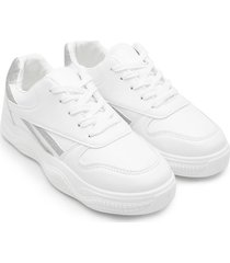 tenis blancos con franja plata color blanco, talla 37