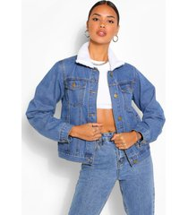 borg collar jean jacket, mid blue