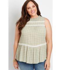 maurices plus size womens green plaid crochet trim babydoll tank top
