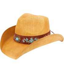 angela & william cowboy hat with floral trim band and stud