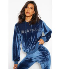babygirl' hoodie met steentjes, blue