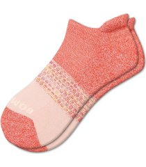 men's bombas space dye triblock ankle socks, size large - pink