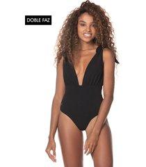 traje de baño negro-multicolor maaji swimwear faena plunge one piece