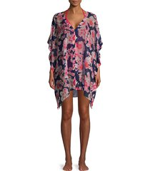 dkny women's floral-printed coverup - navy - size l/xl