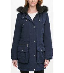 dkny faux-fur trim hooded water-resistant anorak coat