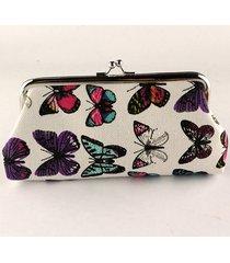 donna borsetta clutches da sera in tela con farfalle
