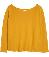 plus size women's caslon fine gauge sweater, size 4x - yellow